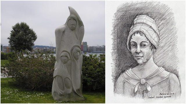 Monumento a Isabel Zendal en A Coruña e ilustración de Ramón Palmeral