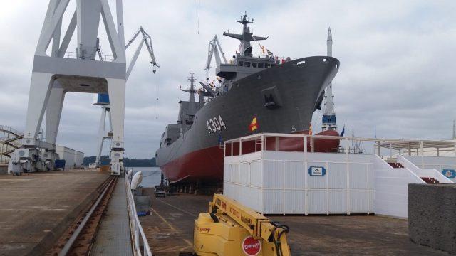 Botadura del buque logístico de la Armada australiana 'Stalwart' en Navantia.