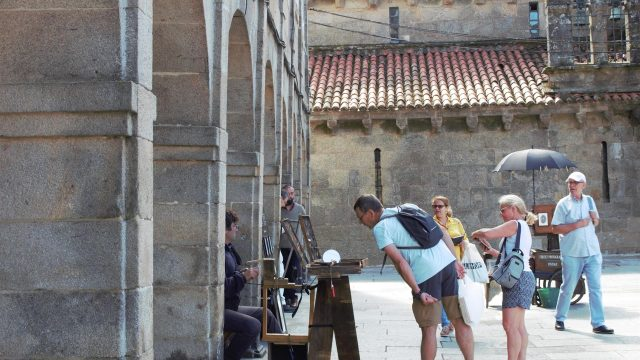 Turistas en Santiago.