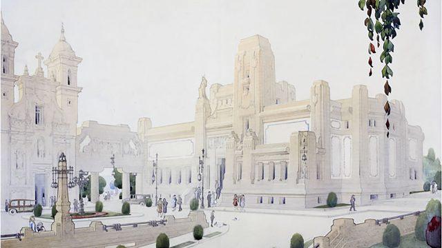 Boceto del edificio de Rafael González Villar en San Agustín