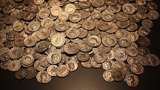 Monedas de oro del Imperio Romano.