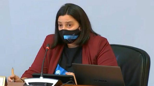 Catuxa Lanjarón, de Enfermeiras Eventuais en Loita, en la comisión de reactivación por la COVID-19.