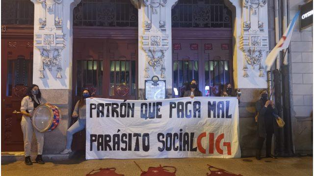 Protesta de los trabajadores del Vecchio en A Coruña.