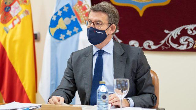 El titular del Gobiero gallego en una reunión del Consello de la Xunta.