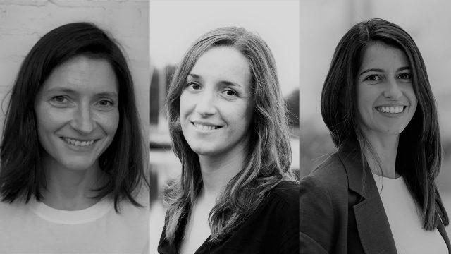 Iria Regueiro, Ana Rodríguez y Claudia Rodríguez, fundadoras de la cooperativa coruñesa Alén.