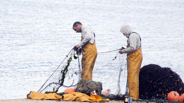 Dos pescadores en el puerto de Vigo.