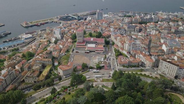 Vista aérea de la ciudad de Vigo desde el monte O Castro.