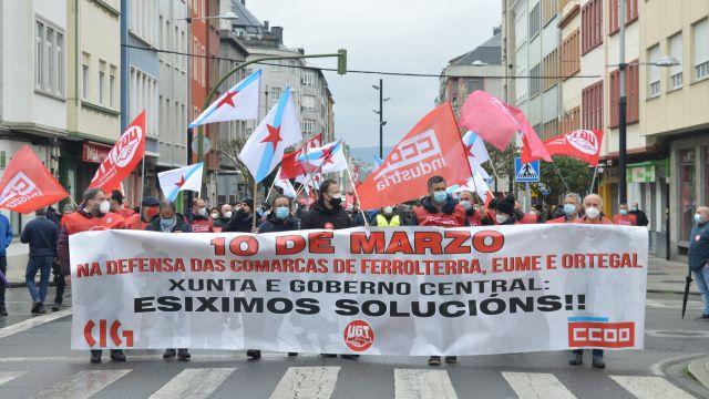 Manifestación de la huelga comarcal de Ferrolterra, Eume y Ortegal el pasado 10 de marzo.
