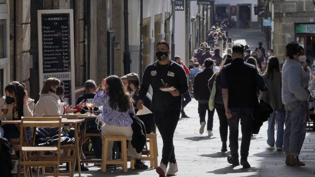 Terrazas de restaurantes en Santiago de Compostela.
