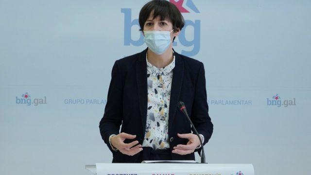 La portavoz nacional del BNG, Ana Pontón, en una rueda de prensa.