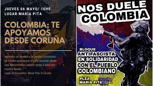 Carteles de las concentraciones en apoyo a Colombia