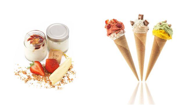 Productos de Lonxa Helado Artesano, que abre mañana su local en A Coruña.