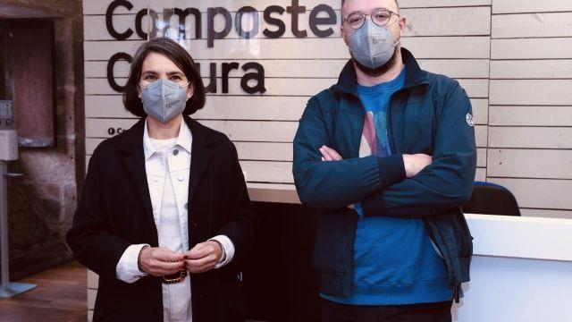 La concejala de Acción Cultural, Mercedes Rosón, y el gerente del Auditorio, Xaquín López.