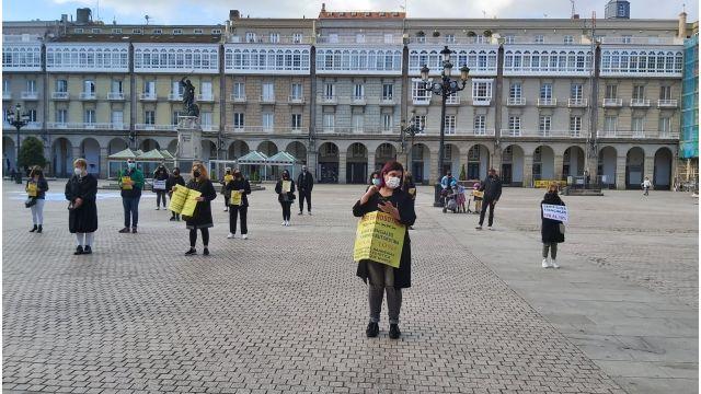 Protesta del sector de la peluquería en A Coruña.