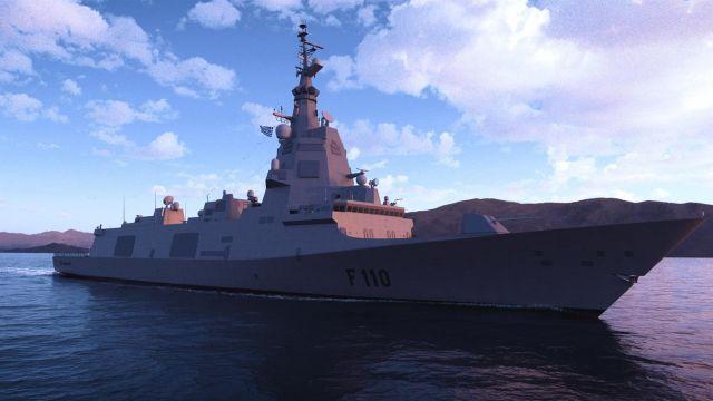 Recreación virtual de las fragatas F-110.