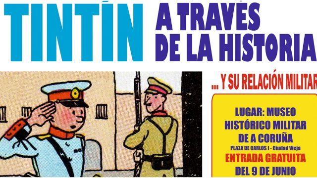 Cartel de la exposición de Tintín en A Coruña.