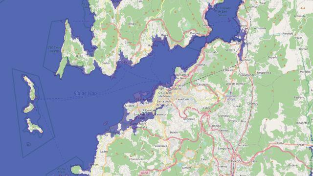 Mapa de Vigo simulando una subida del nivel del mar de 20 metros
