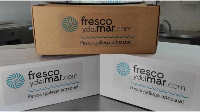 Packaging de cartón para pescado y marisco.