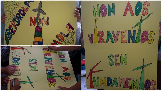 Dibujos reivindicativos de los alumnos de Monfero.