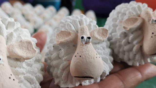 Las ovejas que recibieron algunos de los alumnos del CEIP Sanjurjo de Carricarte de A Coruña.