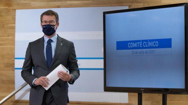 Feijóo en la rueda de prensa sobre asuntos sanitarios.