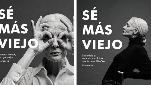 """Una imagen de la campaña de Adolfo Domínguez """"Sé más viejo""""."""