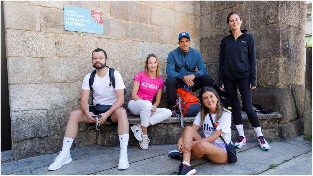 Influencers gallegos posando con la Delegada de la Xunta en Vigo.