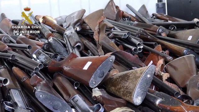 Armas destruidas por la Guardia Civil en 2020.