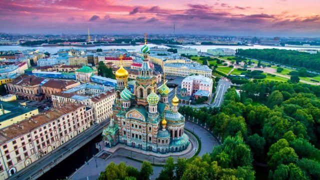Vista aérea de la ciudad rusa de San Petersburgo.