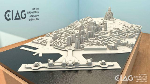 Maqueta en 3D para una exposición sobre Antonio Palacios.