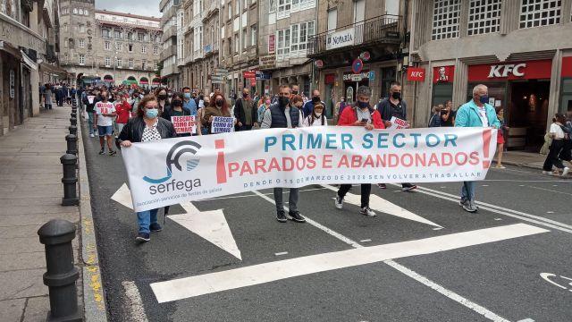 Manifestación del sector de las orquestas y verbenas de Galicia.
