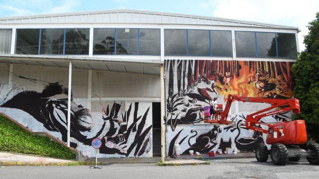 Mural de Franco Fasoli, uno de los participantes