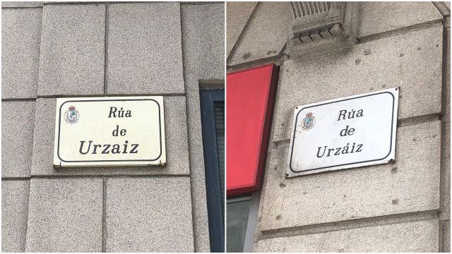 Placas informativas de la calle Urzaiz de Vigo.