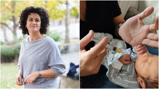 La asesora en lactancia materna Eva González y un padre alimentando con jeringa a su bebé.