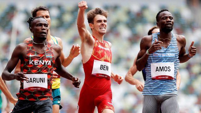 Adrián Ben en las eliminatorias de 800 de los Juegos de Tokio