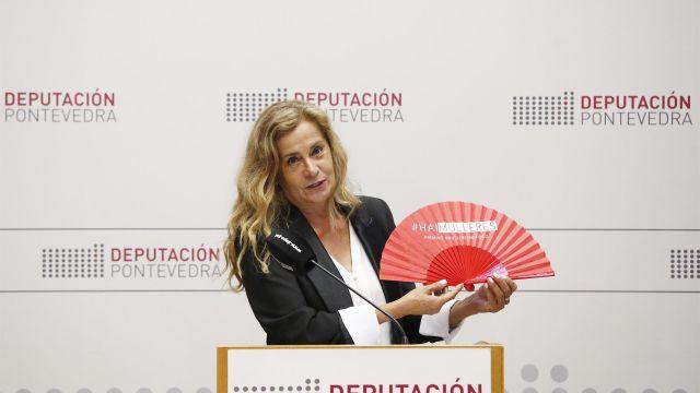 Carmela Silva, presidenta de la Diputación de Pontevedra, durante la presentación del evento