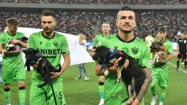Jugadores de la liga Rumana de fútbol salieron al campo con perros para fomentar su adopción (Facebook Save the dogs and other animals)