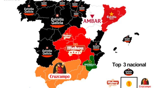 Mapa de preferencias de marca de cerveza por España