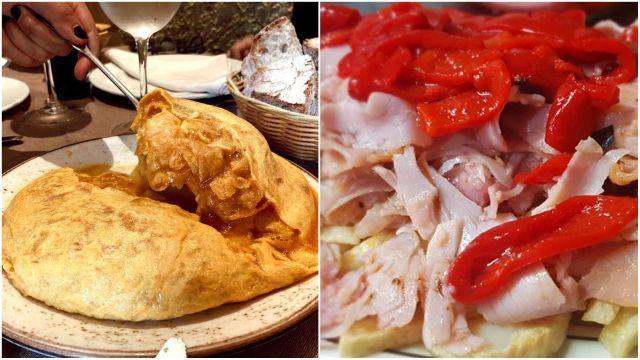 La tortilla de la Taberna da Penela y el jamón asado de O Viñedo de Tito