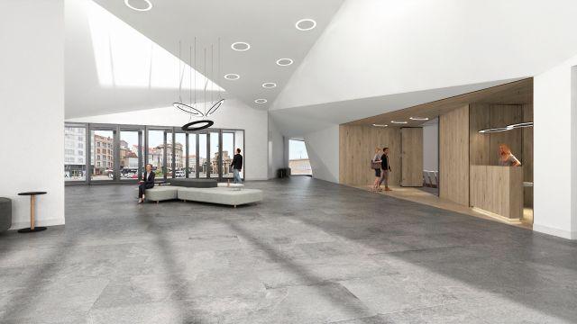 Infografía del vestíbulo del futuro auditorio de Marín.