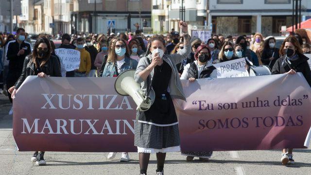 Manifestación en apoyo a las 87 mujeres que en 2019 fueron grabadas mientras orinaban en las fiestas de A Maruxaina