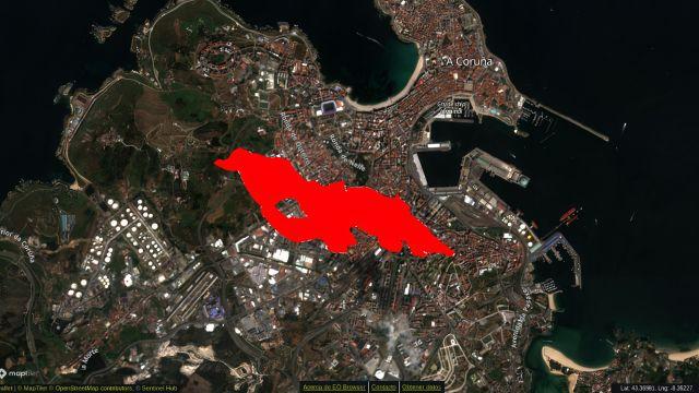 Simulación del tamaño de la lava en comparación con la extensión de A Coruña