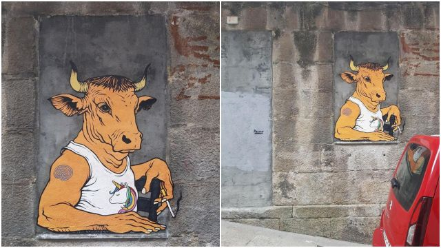 Segunda obra en Vigo del artista lucense Primo Banksy.
